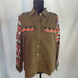 Hot & Delicious L/S Blouse Olive Green Large